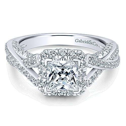 Gabriel - Riviera 14k White Gold Princess Cut Halo Engagement Ring