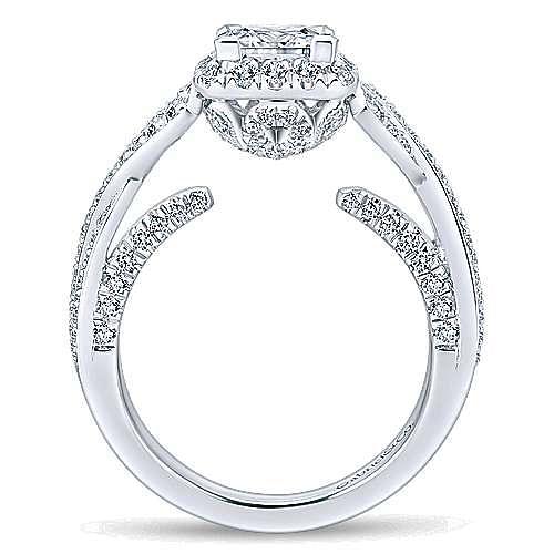 Riviera 14k White Gold Princess Cut Halo Engagement Ring angle 2