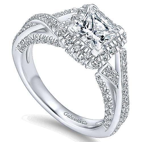 Riviera 14k White Gold Princess Cut Halo Engagement Ring angle 3