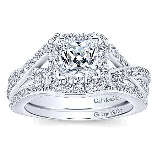 Riviera 14k White Gold Princess Cut Halo Engagement Ring angle 4