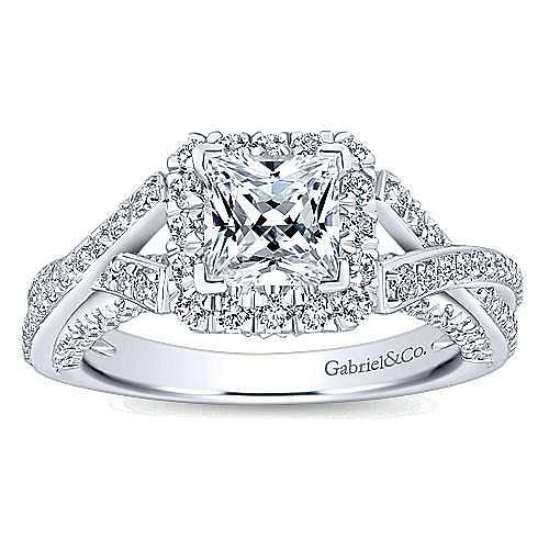 Riviera 14k White Gold Princess Cut Halo Engagement Ring angle 5