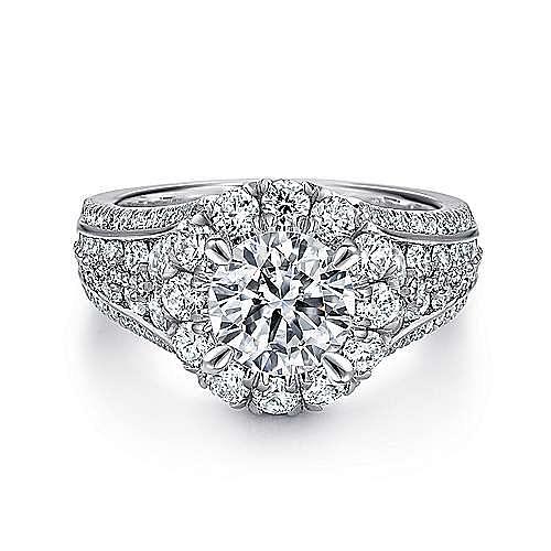 Gabriel - Rivington 14k White Gold Round Halo Engagement Ring