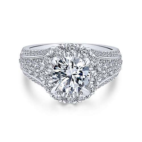 Rivington 18k White Gold Round Halo Engagement Ring angle 1
