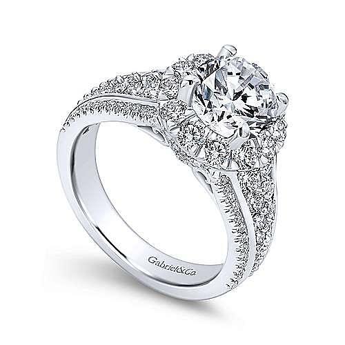Rivington 18k White Gold Round Halo Engagement Ring angle 3