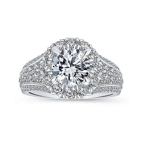 Rivington 18k White Gold Round Halo Engagement Ring angle 5