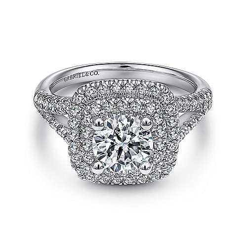 Gabriel - Roberta 18k White Gold Round Double Halo Engagement Ring