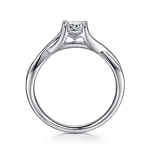 Robin 14k White Gold Cushion Cut Solitaire Engagement Ring angle 2