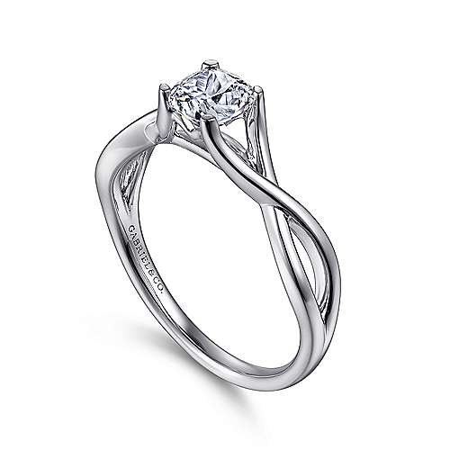 Robin 14k White Gold Cushion Cut Solitaire Engagement Ring angle 3