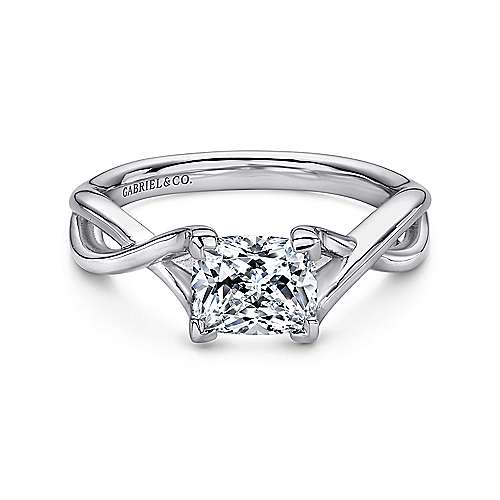 Gabriel - Robin 14k White Gold Cushion Cut Solitaire Engagement Ring