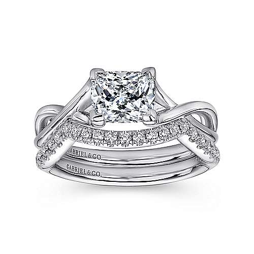 Robin 14k White Gold Cushion Cut Solitaire Engagement Ring angle 4