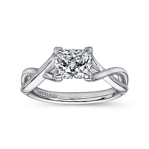 Robin 14k White Gold Cushion Cut Solitaire Engagement Ring angle 5