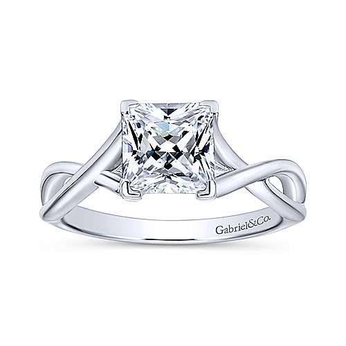 Robin 14k White Gold Princess Cut Solitaire Engagement Ring angle 5