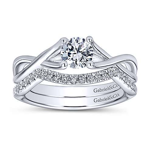 Robin 14k White Gold Round Solitaire Engagement Ring angle 4