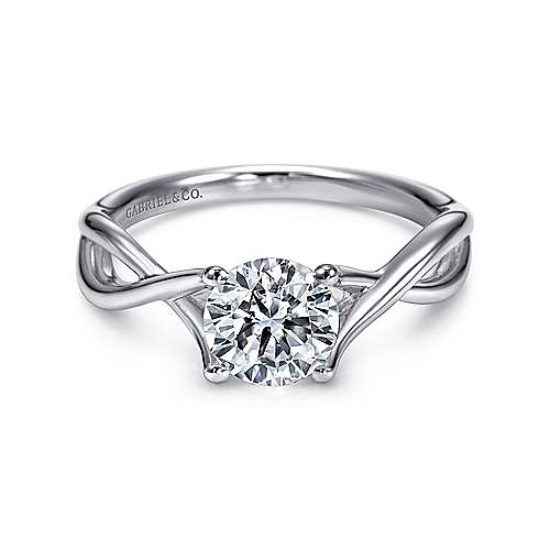 Gabriel - Robin 14k White Gold Round Twisted Engagement Ring