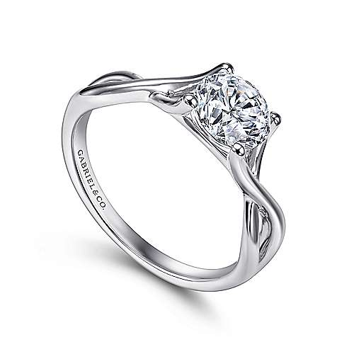 Robin 14k White Gold Round Twisted Engagement Ring angle 3
