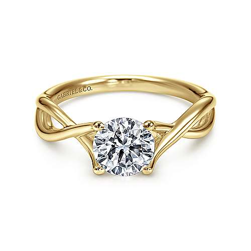 Robin 14k Yellow Gold Round Twisted Engagement Ring angle 1