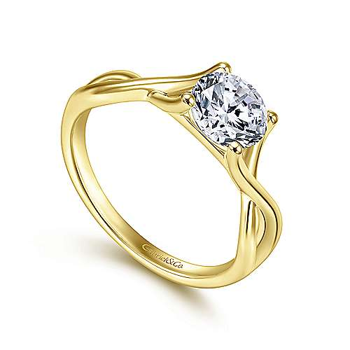 Robin 14k Yellow Gold Round Twisted Engagement Ring angle 3