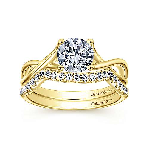 Robin 14k Yellow Gold Round Twisted Engagement Ring angle 4