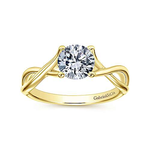 Robin 14k Yellow Gold Round Twisted Engagement Ring angle 5