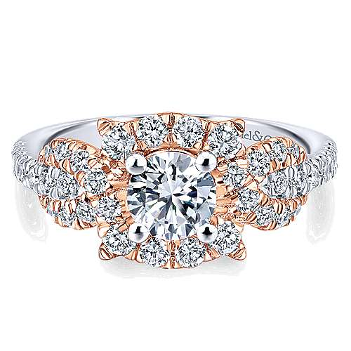 Robinson 14k White And Rose Gold Round Halo Engagement Ring angle 1