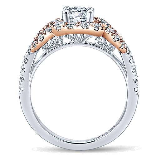 Robinson 14k White And Rose Gold Round Halo Engagement Ring angle 2