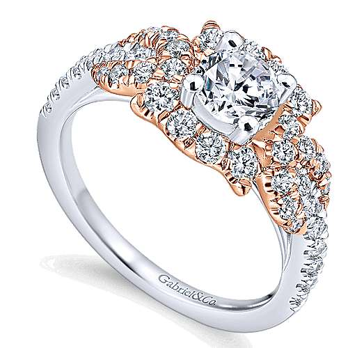 Robinson 14k White And Rose Gold Round Halo Engagement Ring angle 3
