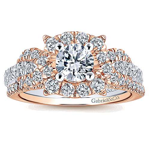 Robinson 14k White And Rose Gold Round Halo Engagement Ring angle 4