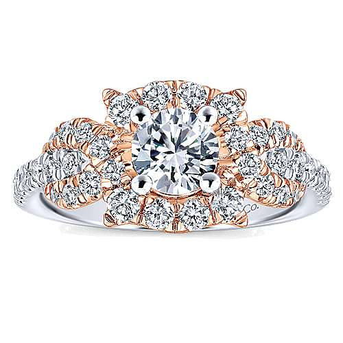 Robinson 14k White And Rose Gold Round Halo Engagement Ring angle 5