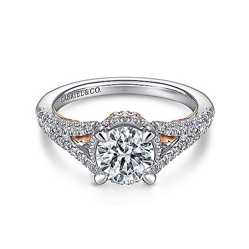 Rochelle 14k White And Rose Gold Round Split Shank Engagement Ring angle 1