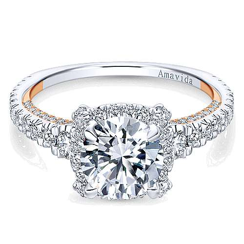 Gabriel - Romance 18k White And Rose Gold Round Halo Engagement Ring