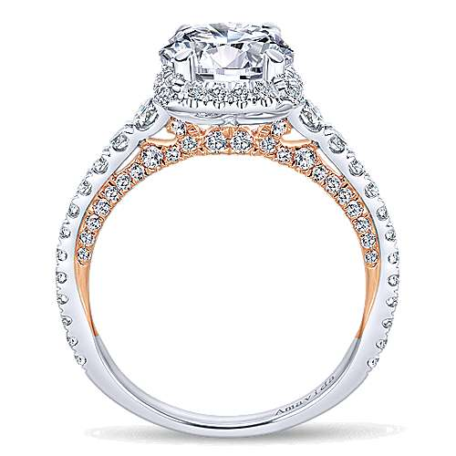 Romance 18k White And Rose Gold Round Halo Engagement Ring angle 2