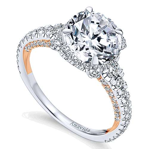 Romance 18k White And Rose Gold Round Halo Engagement Ring angle 3