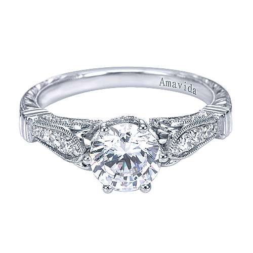Gabriel - Rome Platinum Round Straight Engagement Ring