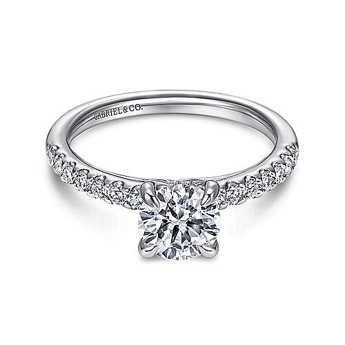 Gabriel - Ronan 18k White Gold Round Straight Engagement Ring
