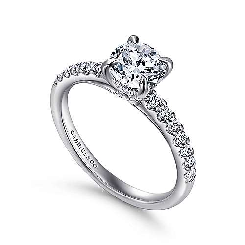 Ronan 18k White Gold Round Straight Engagement Ring angle 3