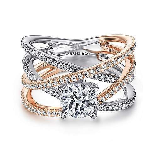 Ronny 14k White And Rose Gold Round Twisted Engagement Ring angle 1
