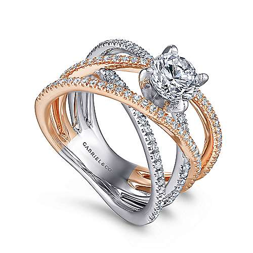 Ronny 14k White And Rose Gold Round Twisted Engagement Ring angle 3