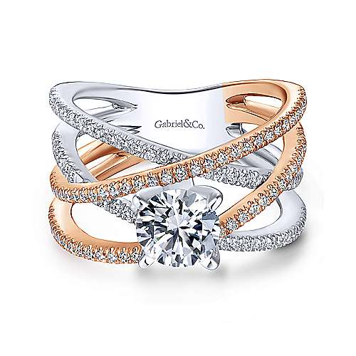 Gabriel - Ronny 18k White And Rose Gold Round Twisted Engagement Ring