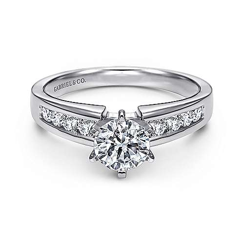 Gabriel - Rooney 14k White Gold Round Straight Engagement Ring