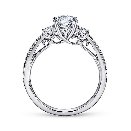 Rory 14k White Gold Round 3 Stones Engagement Ring angle 2