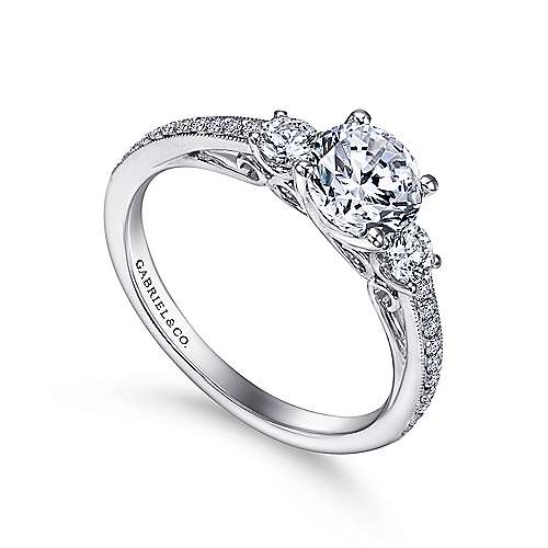 Rory 14k White Gold Round 3 Stones Engagement Ring angle 3