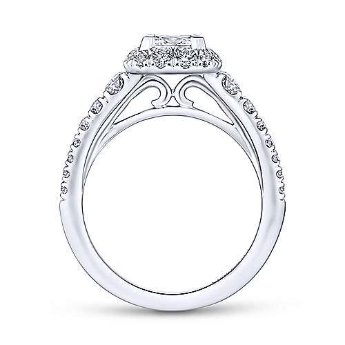 Rosalinda 14k White Gold Princess Cut Halo Engagement Ring angle 2