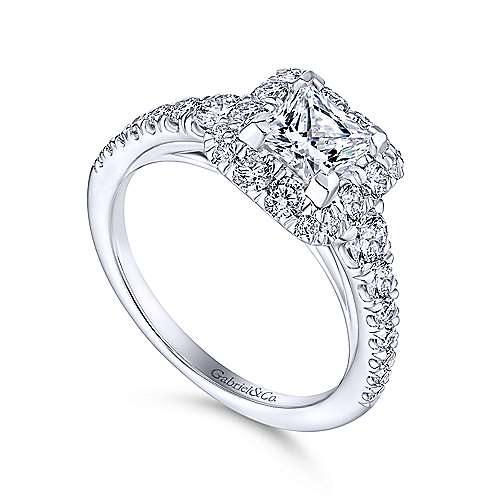 Rosalinda 14k White Gold Princess Cut Halo Engagement Ring Angle 3