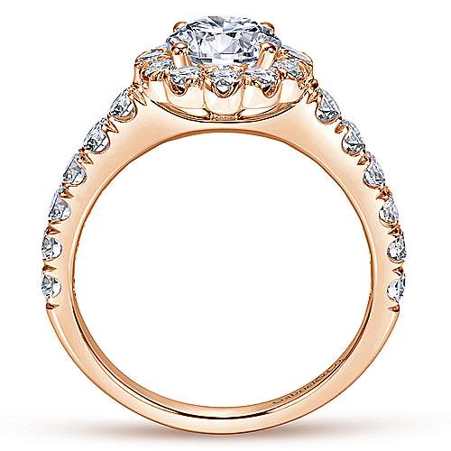 Rosalyn 14k Rose Gold Round Halo Engagement Ring angle 2