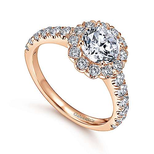 Rosalyn 14k Rose Gold Round Halo Engagement Ring angle 3