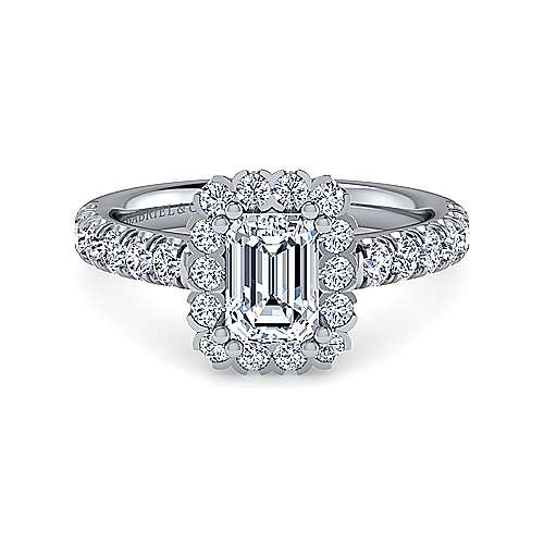 Gabriel - Rosalyn 14k White Gold Emerald Cut Halo Engagement Ring