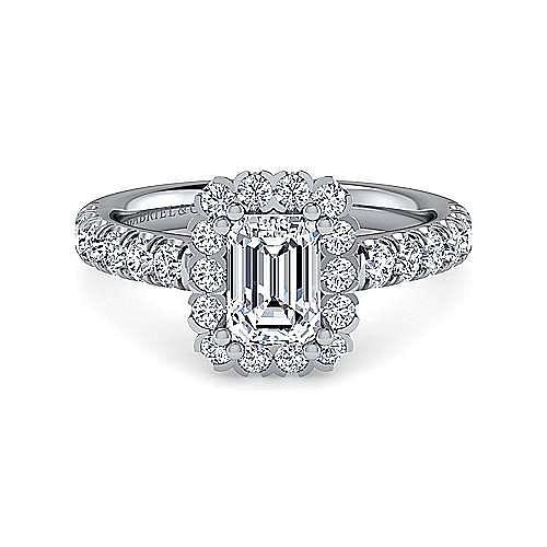 Gabriel - Rosalyn 14k White Gold Emerald Cut Halo Engagement Ring
