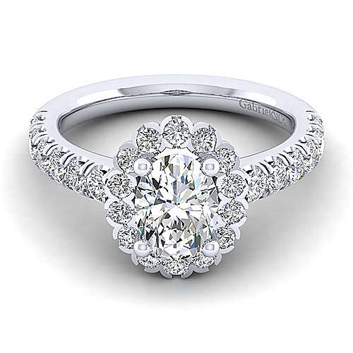 Gabriel - Rosalyn 14k White Gold Oval Halo Engagement Ring