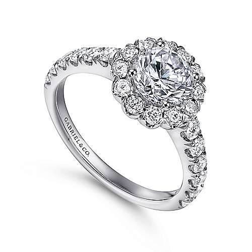 Rosalyn 14k White Gold Round Halo Engagement Ring angle 3