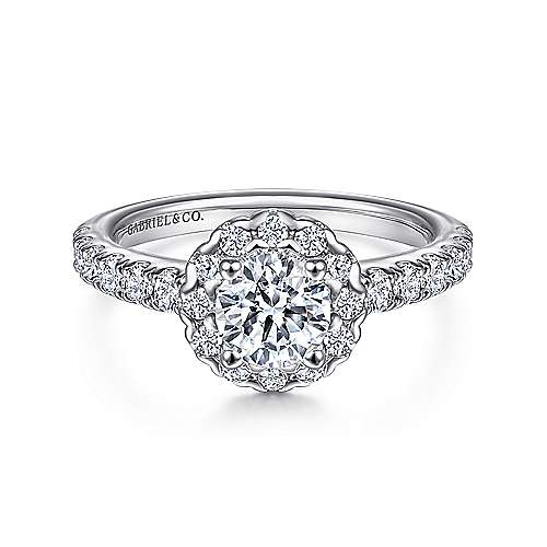 Rosalyn 14k White Gold Round Halo Engagement Ring angle 1